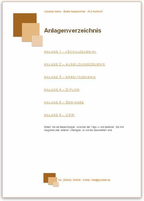 Bewerbung Anlagenverzeichnis Muster im Design braun mit Quadraten