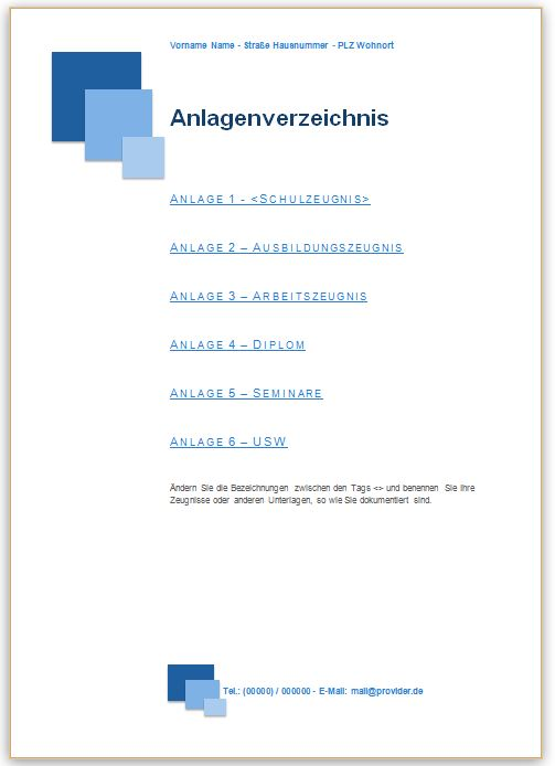 Bewerbung Anlagenverzeichnis Vorlage im Design blau mit Quadraten