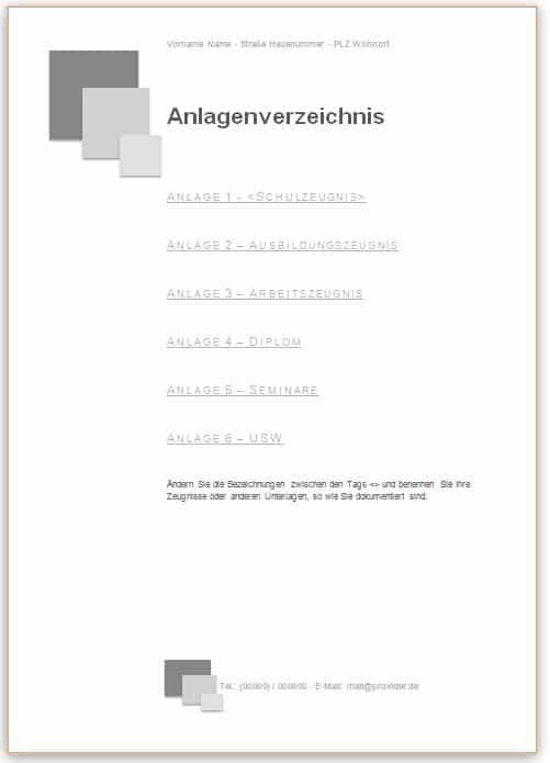 Bewerbung Anlagenverzeichnis Vorlage in grau mit Quadraten