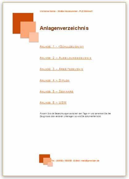 Bewerbung Anlagenverzeichnis Muster im Design orange mit Quadraten