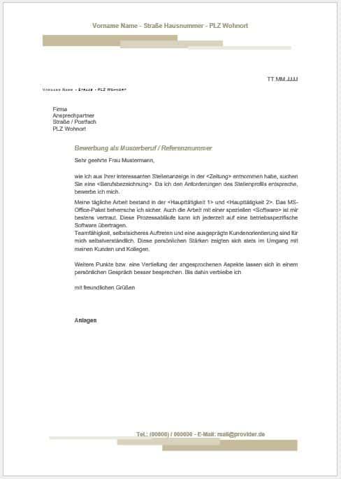 Bewerbungsschreiben Muster Libreoffice Openoffice Vorlage