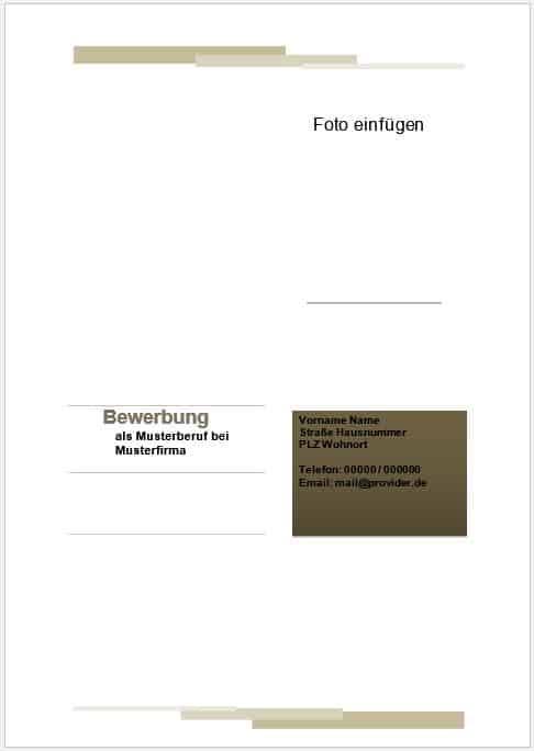 Gratis Bewerbung Deckblatt Muster, Vorlage, Beispiel für Libreoffice oder Openoffice zum kostenlosen Download