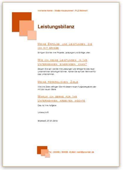 Leistungsbilanz Vorlage für die Bewerbung im Design orange mit Quadraten