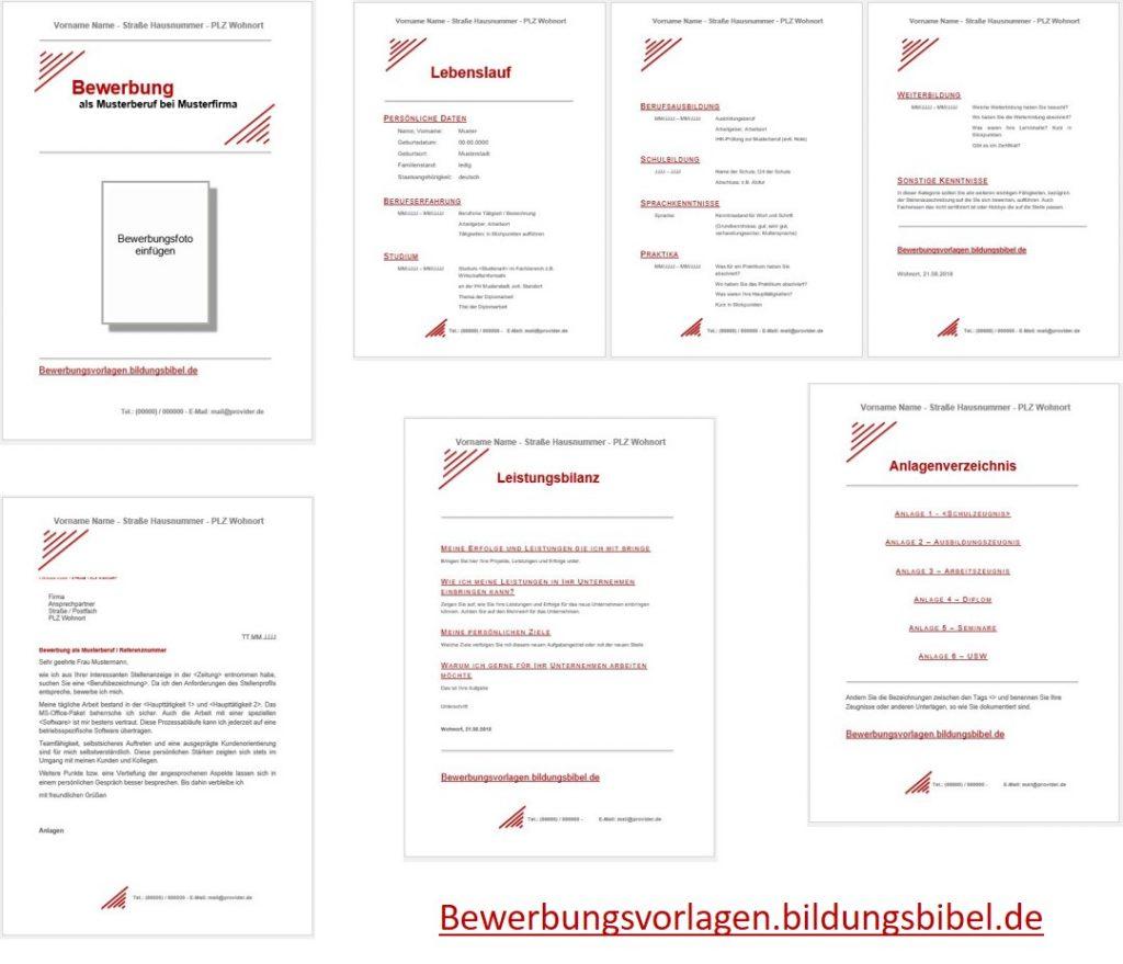Bewerbung Muster, Vorlage ,Beispiel rot im Set