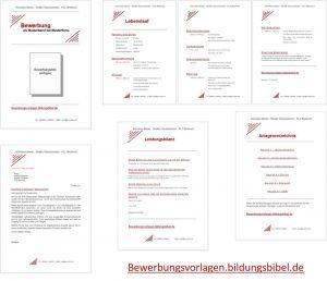 Bewerbungsvorlagen, Muster, Vorlage ,Beispiel rot im Set für die Bewerbung