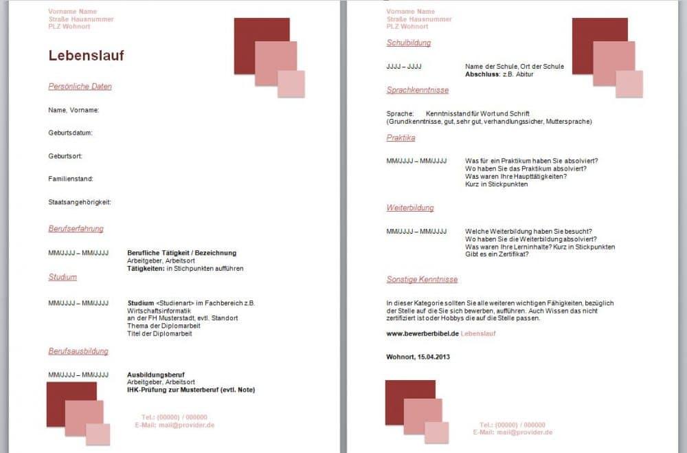 Lebenslauf Design rote Quadrate und besitzt rote Überschriften für die Kategorien