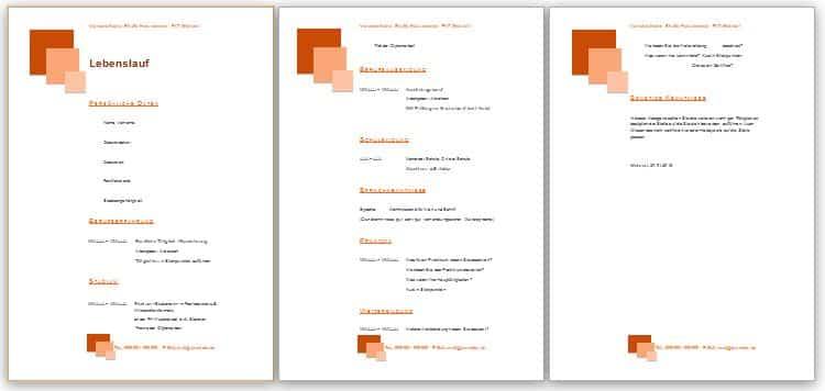 Lebenslauf Muster in der Farbe orange, mit Quadraten