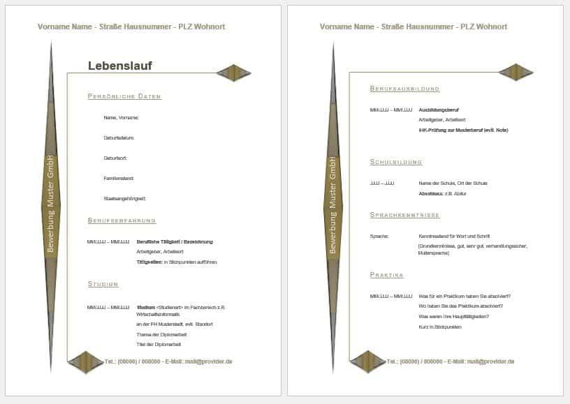 Muster, Vorlage, tabellarischer Lebenslauf downloaden
