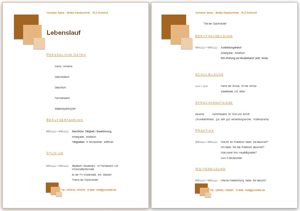 Lebenslauf Vorlage in der Farbe braun, mit Quadraten zum Downloaden