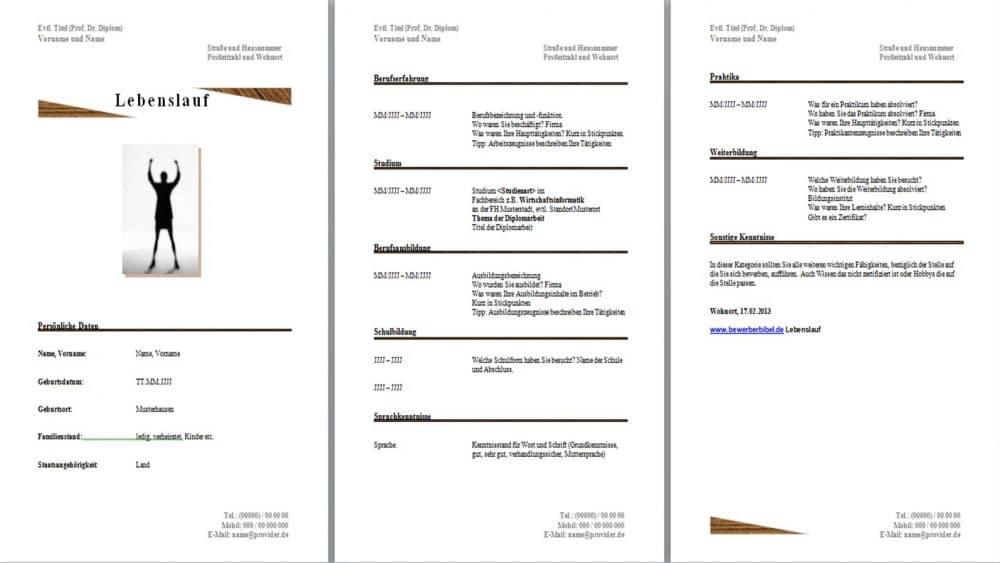 Lebenslauf Vorlage mit Holz-Effekt und Dreiecken, Kategorien kostenlos downloaden