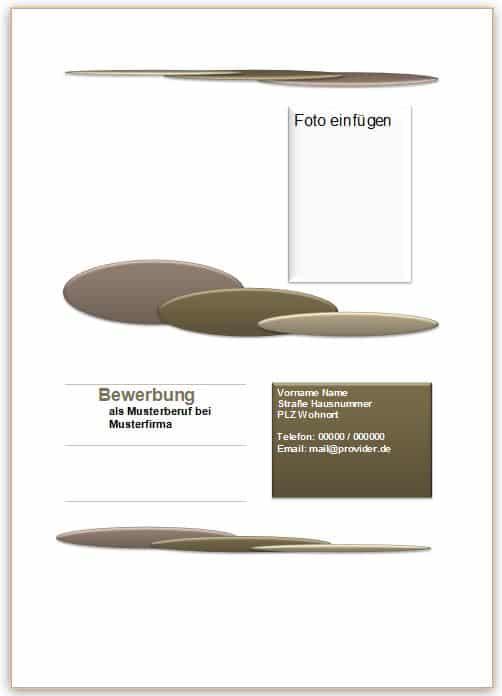 Bewerbung Deckblatt Muster, Vorlage, Beispiel, kostenlos downloaden