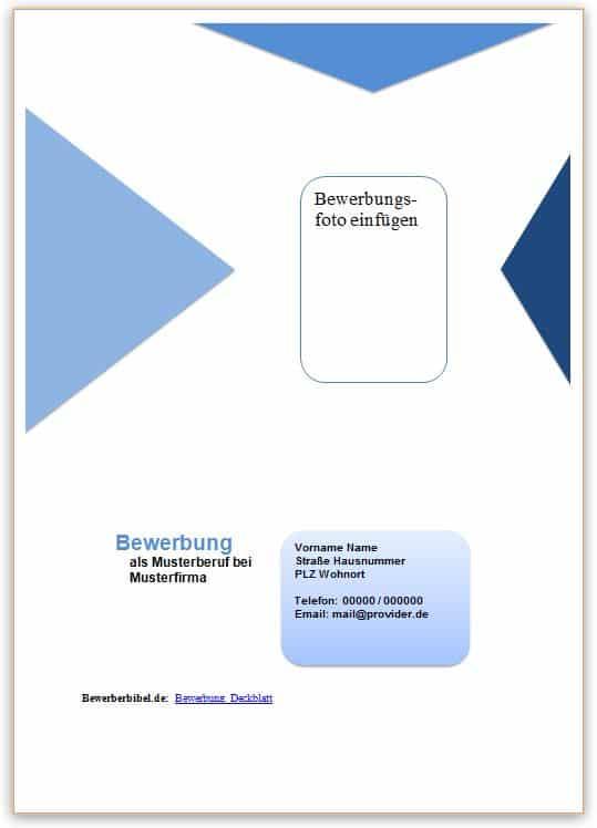 Deckblatt Bewerbung Beispiel, Vorlage in blauem Design