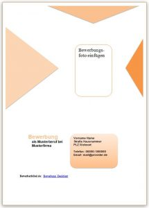 Bewerbung Muster Deckblatt in orange