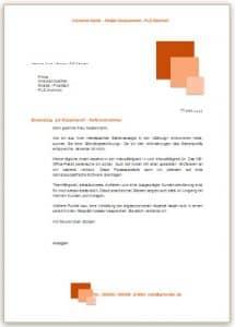 Bewerbungsschreiben Vorlage im Design orange mit Quadraten