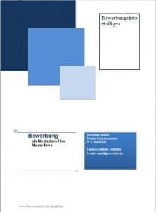 Deckblatt Muster, Beispiel im Design blau und Quadraten