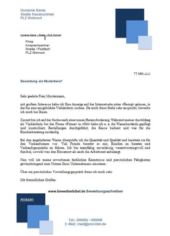 Bewerbungsschreiben Muster Design blaue Quadrate gratis downloaden