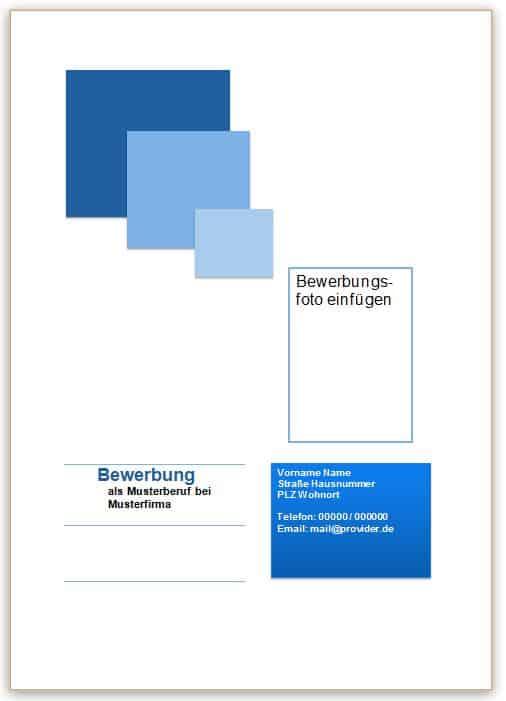 Bewerbung Deckblatt Muster in blau mit Quadraten