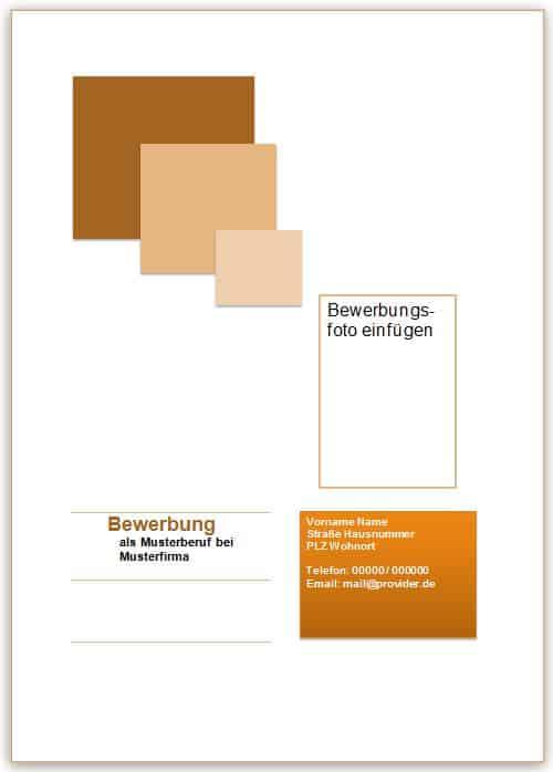 Deckblatt Bewerbung Vorlage in braun mit Quadraten