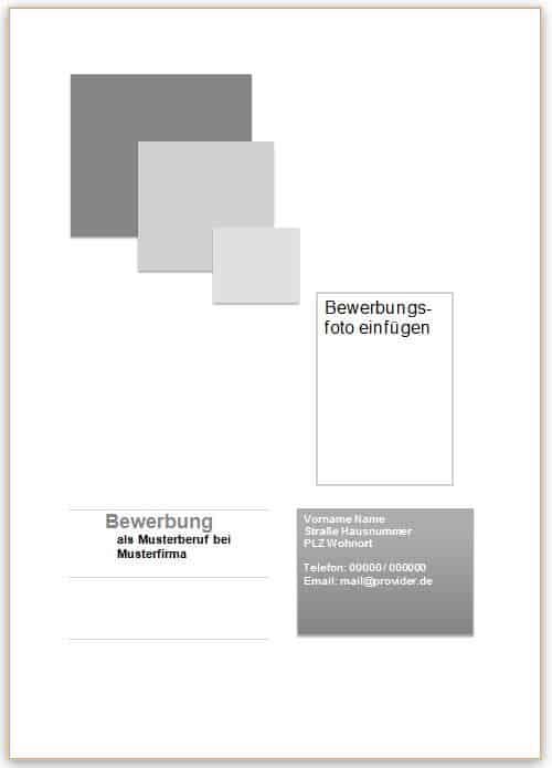 Deckblatt Beispiel und Vorlage in grau mit Quadraten für die Bewerbung