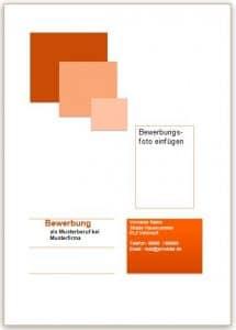Die Deckblatt Vorlage in orange und Quadraten für die Bewerbung