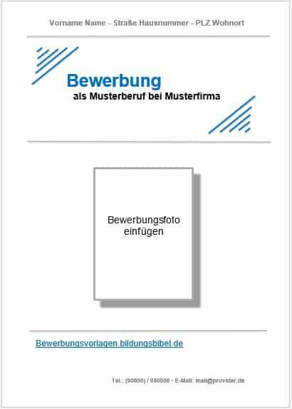 Bewerbung Deckblatt Vorlage kostenlos downloaden
