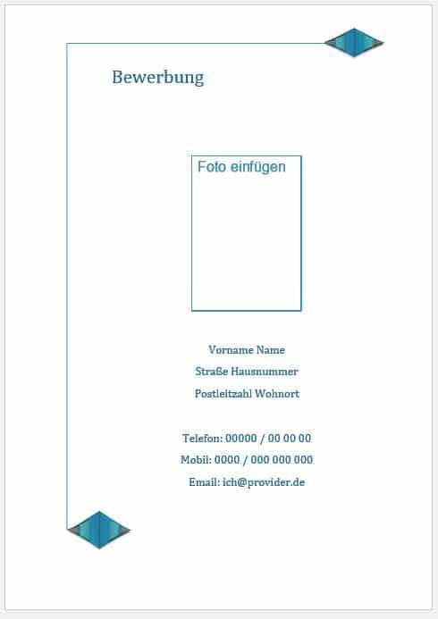 Bewerbung Deckblatt Vorlage, Muster Beispiel kostenlos downloaden