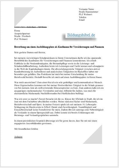 Bewerbung Kauffrau Fur Buromanagement Ausbildung 9