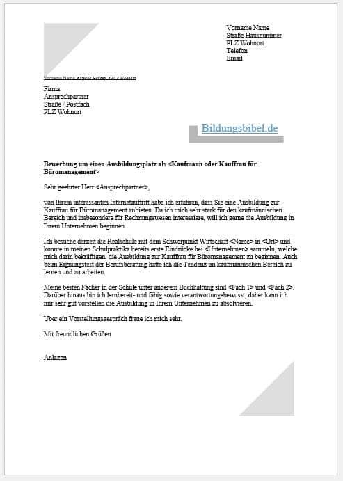 Bewerbung Als Kaufmann Kauffrau Fur Buromanagement