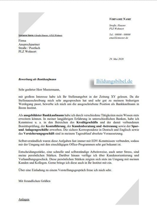 Layout Fur Die Bewerbung Als Bankkaufmann Jobguru 5