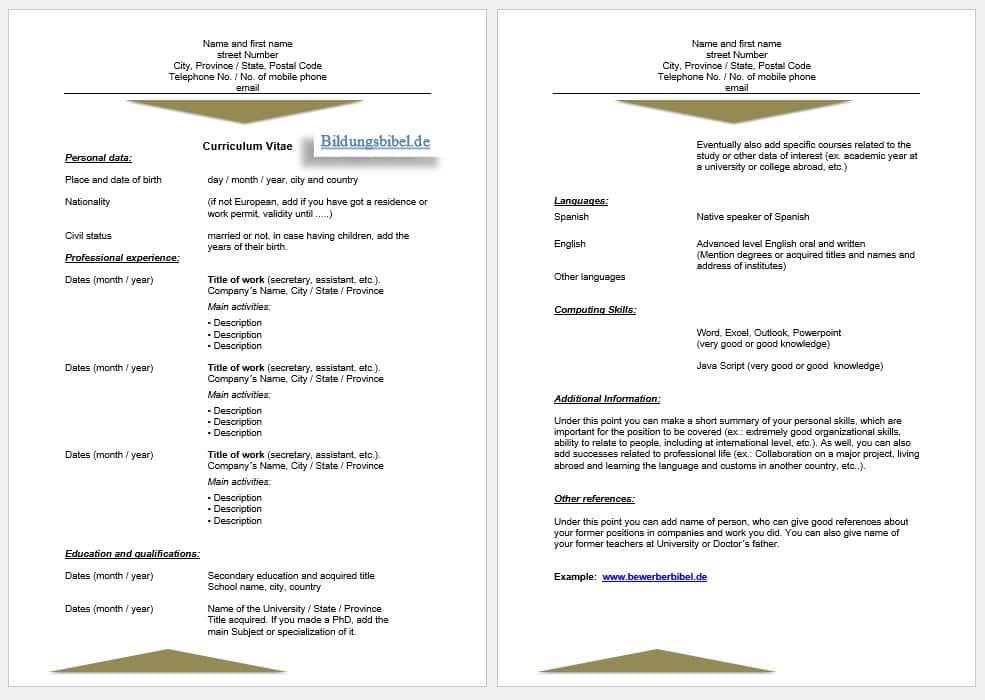 Englisch Lebenslauf Vorlage sowie Muster CV oder Resume Beispiel für die Bewerbung