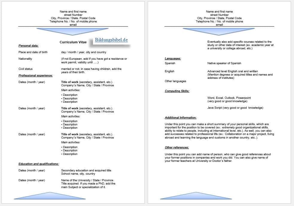 Bewerbung Englisch Lebenslauf Vorlage sowie Muster CV oder Resume kostenlos downloaden