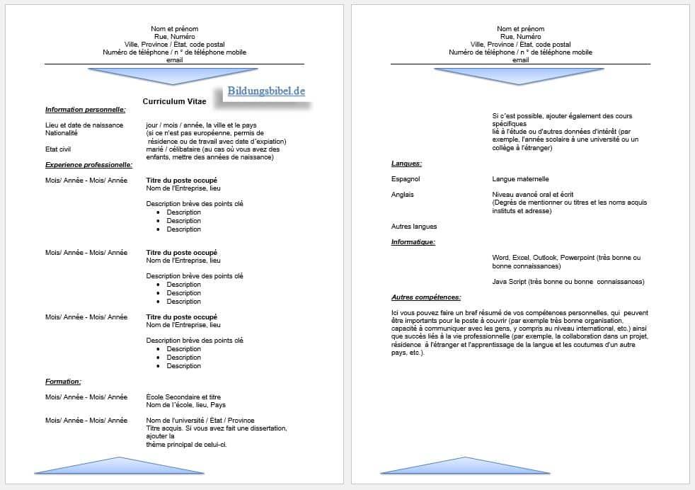 Bewerbung Französisch, Lebenslauf Vorlage sowie Muster für den CV, Curriculum vitae Beispiel 02