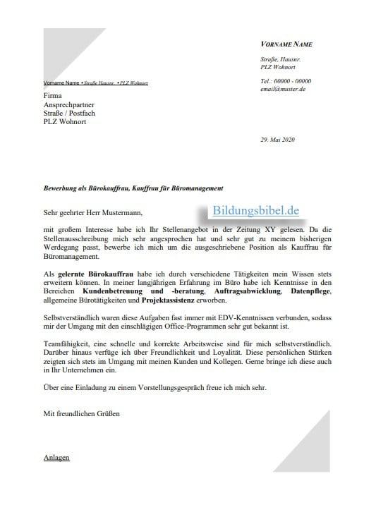 Bewerbung Schreiben Kaufmann Kauffrau Fur 5