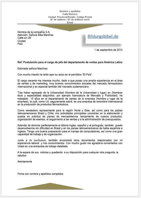 Bewerbung Spanisch Bewerbungsschreiben Vorlage, Muster sowie Beispiel 1, Carta de solicitud kostenlos downloaden