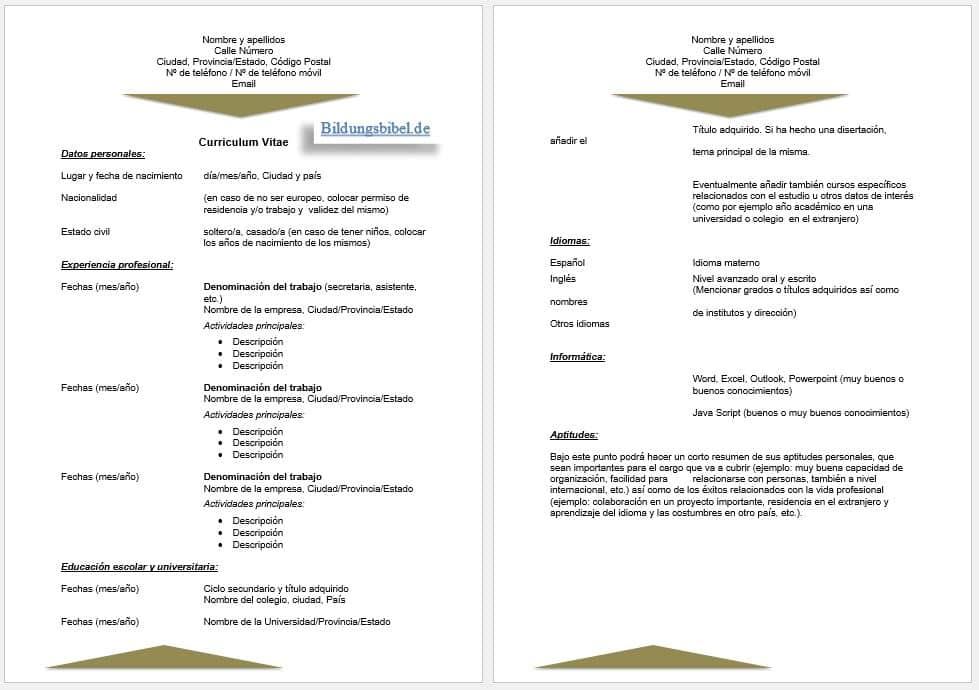 Der Lebenslauf in Spanisch Vorlage sowie Muster für den CV, Curriculum vitae Beispiel 1 kostenlos downloaden