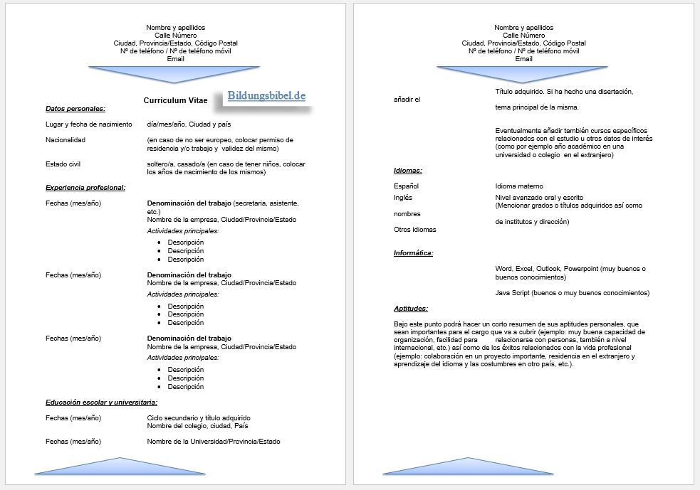 Spanische Lebenslauf Vorlage und Muster für den CV, Curriculum vitae Beispiel 2