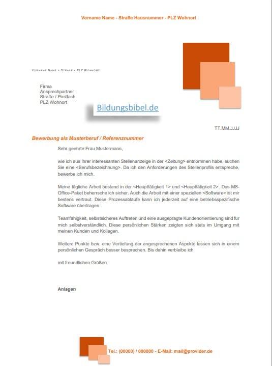 Bewerbungsschreiben Vorlage im Design orange mit Quadraten für die Bewerbung