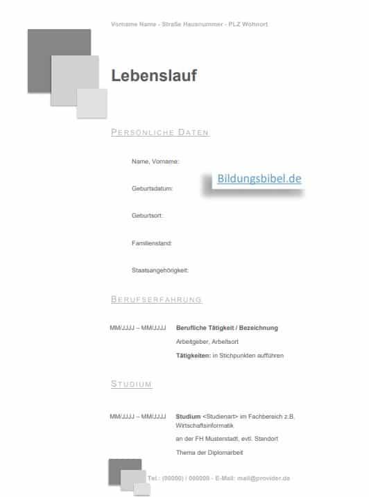 Lebenslauf Vorlage sowie Muster in der Farbe grau, mit Quadraten kostenloser Download