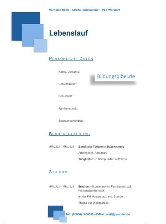 Die Lebenslauf Vorlage, Beispiel in der Farbe blau mit Quadraten gratis Download