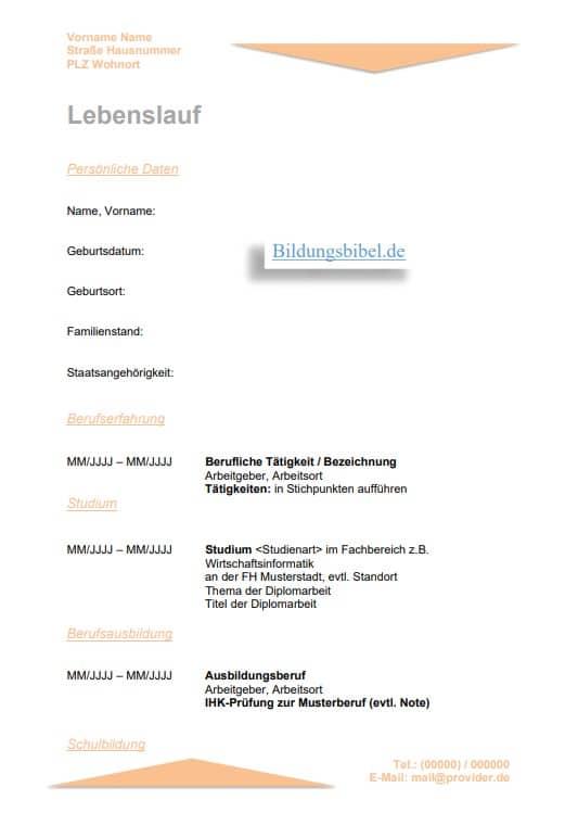 Muster, Vorlage, Beispiel in der Farbe Orange zum Download kostenlos