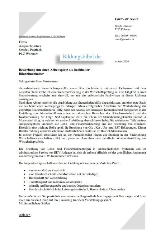 Bewerbung als Buchhalter oder Bilanzbuchhalter Muster, Vorlage für das Bewerbungsschreiben kostenlos downloaden