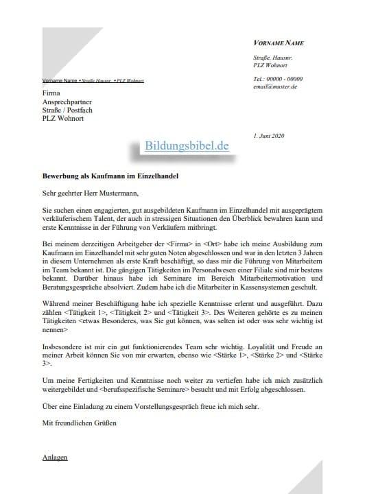 Bewerbung Schreiben Kaufmann Kauffrau Im 6