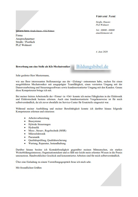 Bewerbung Als Kfz Mechatroniker Kfz Mechatronikerin 3