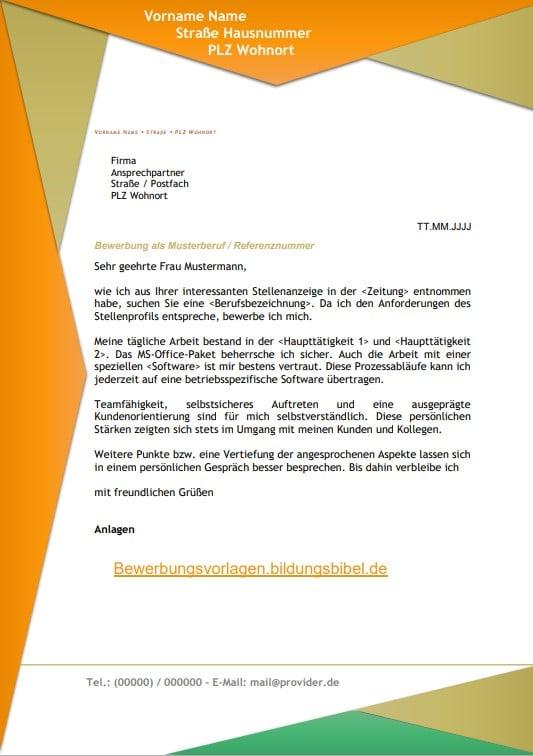 Kostenlose Bewerbungsschreiben Vorlage im Design Berlin