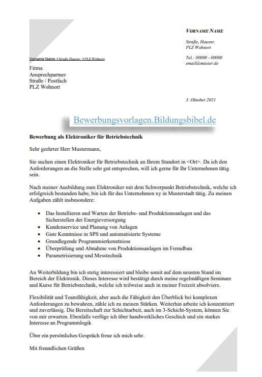Bewerbung als Elektroniker für Betriebstechnik, Anschreiben Vorlage, Bewerbungsschreiben Muster als Word Vorlage o. PDF Download kostenlos.